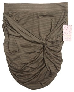 Free People Drape Shirred Comfy Mini Skirt Army Green