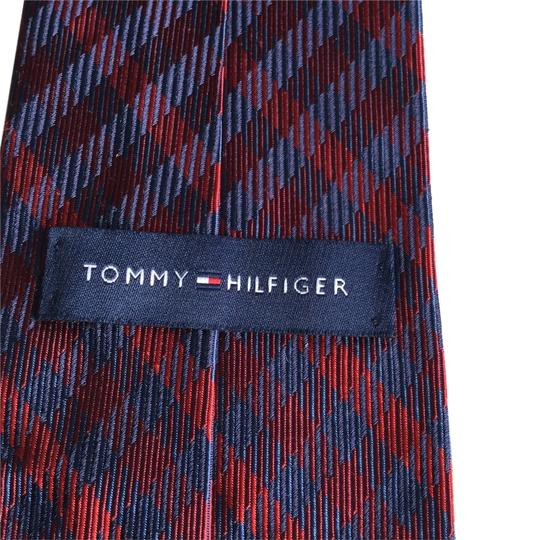 Tommy Hilfiger Navy and Red Silk Tie Outside and Navy with White Dots Inside