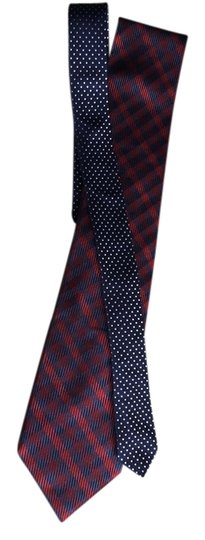 Tommy Hilfiger Navy and Red Silk Tie Outside and Navy with White Dots Inside Image 1