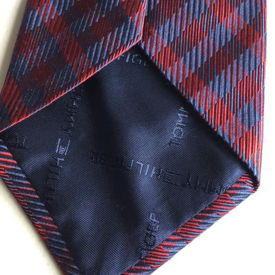 Tommy Hilfiger Navy and Red Silk Tie Outside and Navy with White Dots Inside Image 3