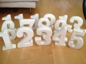 White Table Numbers Other