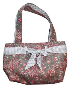 Just Between Friends Flowers Girly Satchel in Brown, Green, Red, Beige