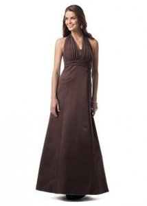 David's Bridal Brown Satin 81441 Formal Bridesmaid/Mob Dress Size 6 (S)