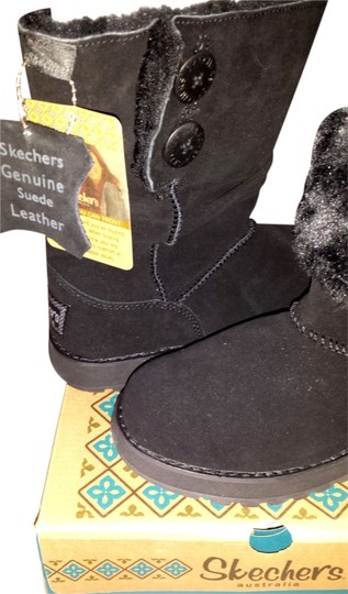 Skechers Leather Suede Faux Fur Black Boots