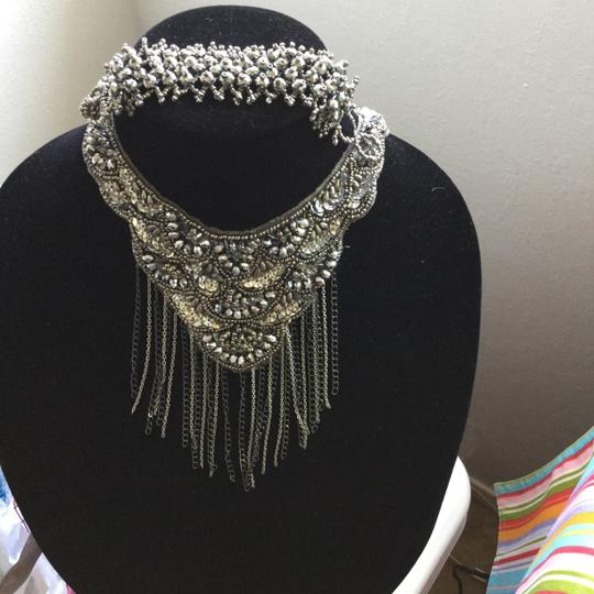 Other NECKLACE OR BELT - Silver Beads and Sequins on Silk Ribbon with Delicate Dangling Medal Chains * Bracelet Option