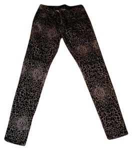 Islandia Mosaic Festival Hipster Black Stretchy Skinny Jeans-Coated
