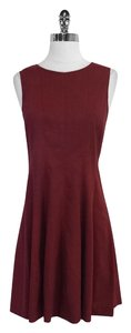 Theory short dress Maroon Linen Blend Sleeveless on Tradesy