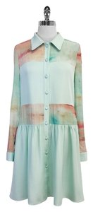 Christian Siriano short dress Mint Green Coral Print Silk on Tradesy