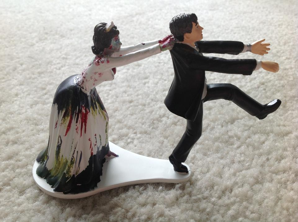 Bride Chasing Groom Cake Topper