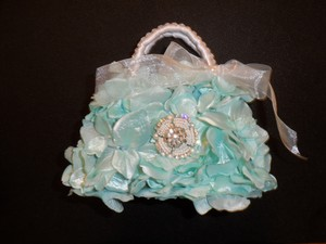 Aqua/White Flower Girl Purse