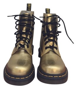 Dr. Martens Combat Metallic Shiny Girls Leather Gold Boots