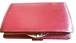 Louis Vuitton Authentic Louis Vuitton Red Epi Leather French Wallet Kiss Lock