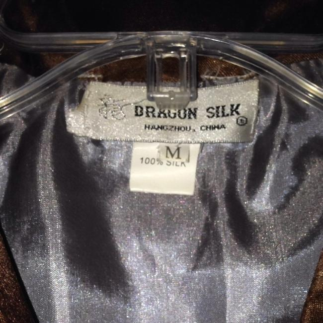 dragon silk Platinum Gray With Dark Brown Blazer