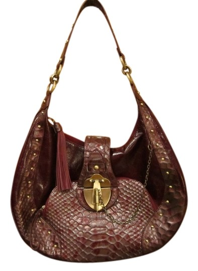 1827 Signature Genuine Leather Handbag Hobo Gold Studded Tassel Zipper Chain Strap Shoulder Bag