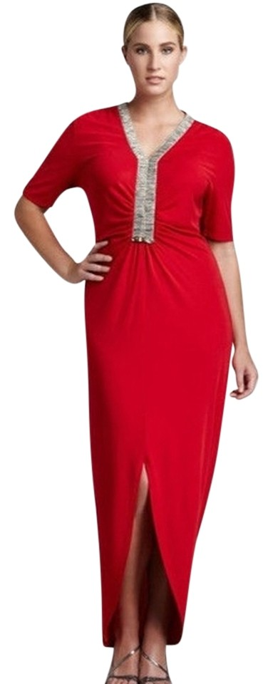 Red Neiman Marcus Evening Gown Swarovski Long Formal Dress Size 14 ...