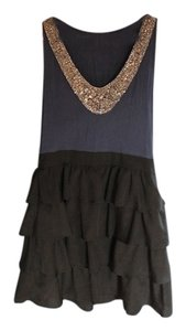 Silence & Noise Embellish Ruffle Satin Skirt And Urban Outfitters Bead Sequin Bib Hipster Cute Casual Formal Cocktail Dress