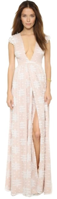 Item - Tan/White Ethereal Whispers Maxi Long Formal Dress Size 4 (S)