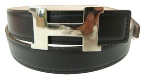 Hermès Hermes Constance H Black box calf rose dragee Leather Belt