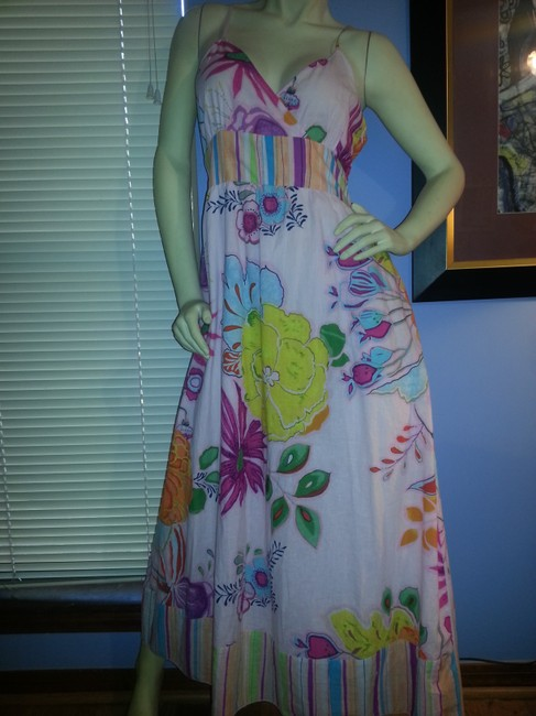 Yellow, green, teal, orange, purple and blue floral on pink Maxi Dress by Pink Apple