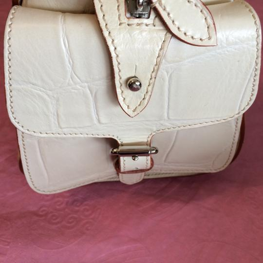 Dooney & Bourke Smoke Free Home Inside Zipper Pocket Dust Cover Logo Emblem End Pockets Satchel in Beige