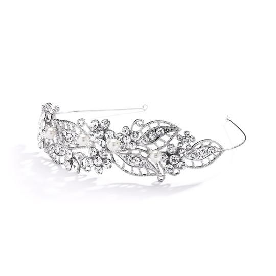 Adriana Antique Filigree Rhinestone Leaves and Pearls Headband Tiara