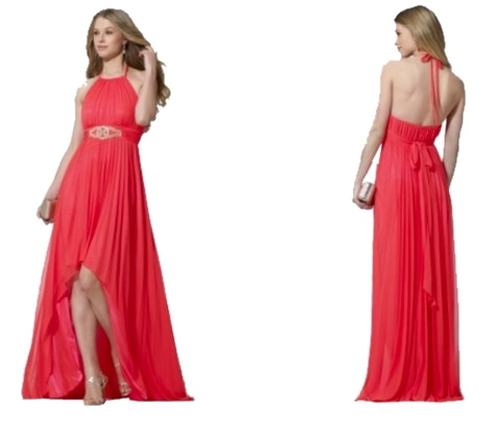 Cache Coral Pleated High-low Formal Dress Size 4 (S) - Tradesy