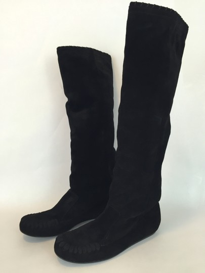 Lanvin Wedge Suede Knee High Black Boots