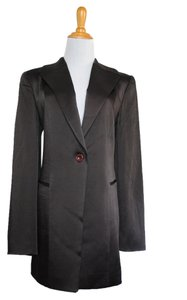 Oscar de la Renta Long Menswear Jacket Silky Boyfriend Vintage 10 Medium M Wool Fall Brown Blazer
