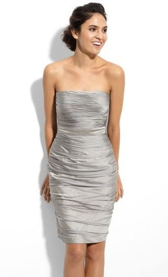 Preload https://img-static.tradesy.com/item/55218/monique-lhuillier-silver-chiffon-strapless-ruched-cationic-sexy-bridesmaidmob-dress-size-4-s-0-0-540-540.jpg