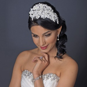 Exquisite Ivory Pearl & Rhinestones Wedding Bridal Russian Tulle Cap Headband