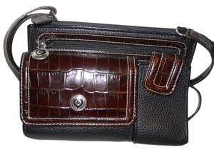 Brighton Organizer Leather Croc Cross Body Bag