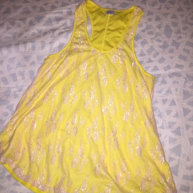 Charming Charlie Canary Top Yellow Lace