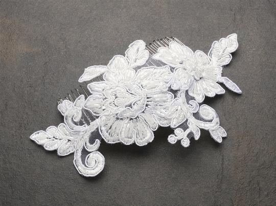 White Krista Rose Beaded Lace Applique Comb Hair Accessory