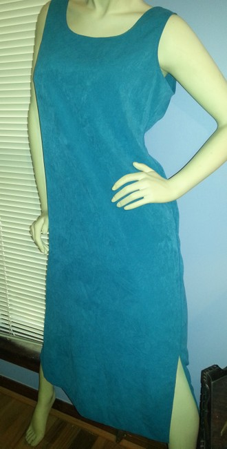 Teal Maxi Dress by Melissa Harper Blue Mid Length Side Slits 2018 Trend Vintage