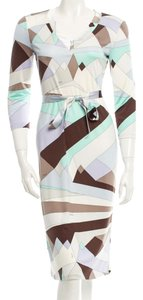 Emilio Pucci White Multicolor V-neck Longsleeve Silk Dress