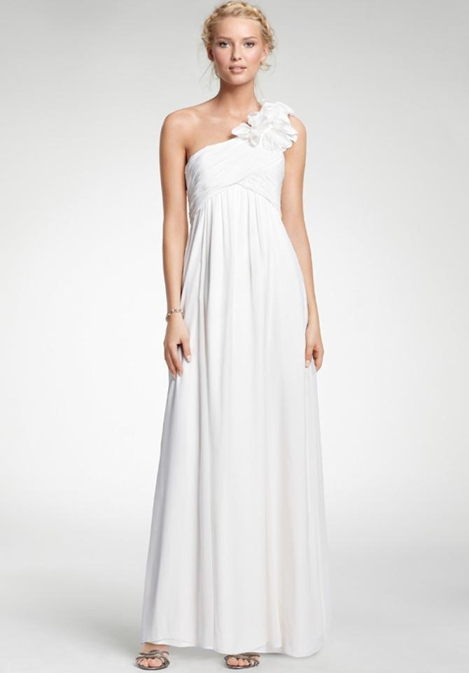 Ann Taylor Ivory Silk Georgette Vintage Corsage One-shoulder Gown ...