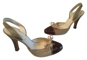 Prada Made Italy $34 OFF Brown snakeskin heels toes tan fabric leather lining/soles E37.5 Italian slingback Pumps