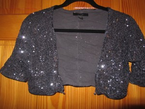 Express Sequin Cropped Sparkle Top Pewter Gray