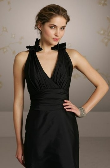 Jim Hjelm Occasions Black Taffeta Jh5069 Or 5069 Formal Bridesmaid/Mob Dress Size 12 (L)
