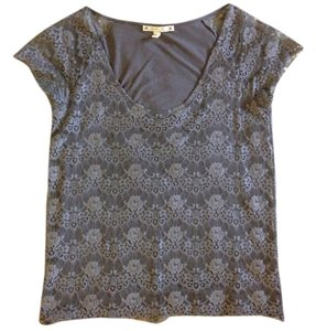 Joie Designer Barney's Barney's New York Couture Fashion Lace Top Gray