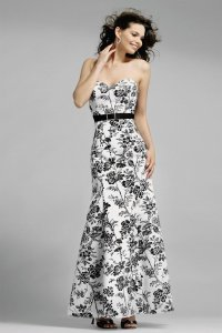 Alexia Designs White / Black Print Satin Style 4010 Formal Bridesmaid/Mob Dress Size 10 (M)
