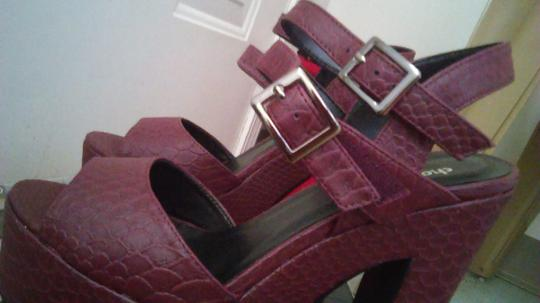 Charlotte Russe Red Heels Strappy Cute Chunky Edgy burgundy Platforms