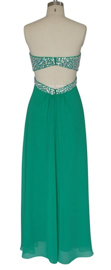Green Chiffon Crystal Beads Bodice Open Back Long Formal Bridesmaid/Mob Dress Size 2 (XS)