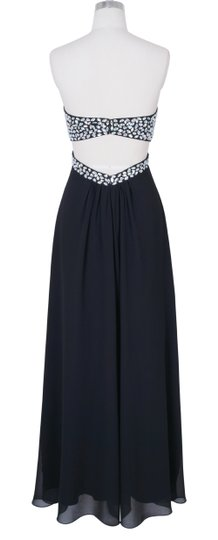 Black Chiffon Crystal Beads Bodice Open Long Formal Bridesmaid/Mob Dress Size 2 (XS)