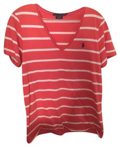 Polo Ralph Lauren T Shirt Salmon with white stripes