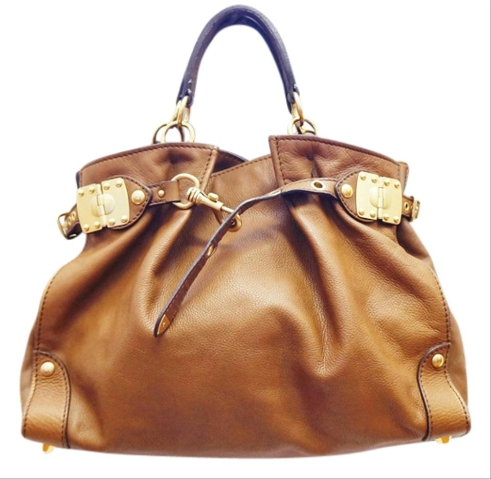 Miu Miu Belted Hand Slouchy Brown Leather Tote - Tradesy e49d5be403665