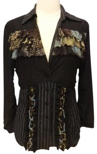 Alberto Makali Artsy Ruffled Button Down Shirt black