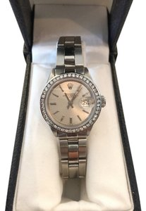 Rolex Rolex Date 6919 Silver Dial 0.85ct Diamond Bezel Stainless Automatic Womens