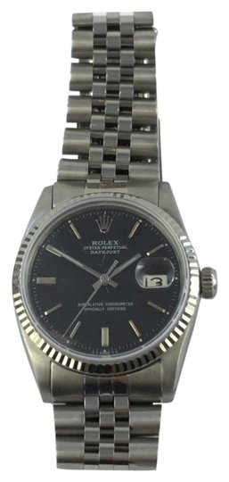 Rolex Rolex Datejust 1603 Stainless Date White Gold Fluted Bezel Black Dial