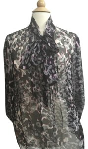 Elie Tahari Sheer Silk Top Black, Pink Grey Leopard Print